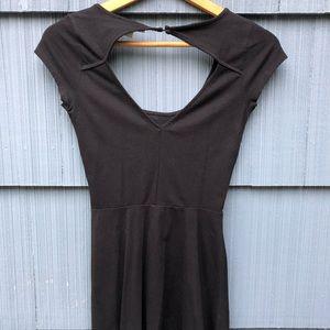 Black Open Back Short Sleeve Cotton Skater Dress